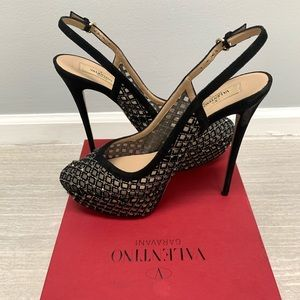 Valentino black with diamond studs and lace pumps